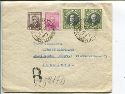 Chile reg cover to Germany 1934