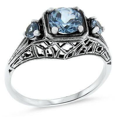 Sim Aquamarine Antique Art Deco Style .925 Sterling Silver Ring Size 8,     #131
