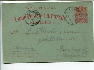 Chile 5c postal card to Germany 1891