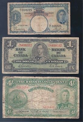 British Commonwealth, KGV1 Selection, 3 Different Banknotes, Low Grade!!