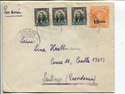Chile uprated inland air mail stationery cover 1929