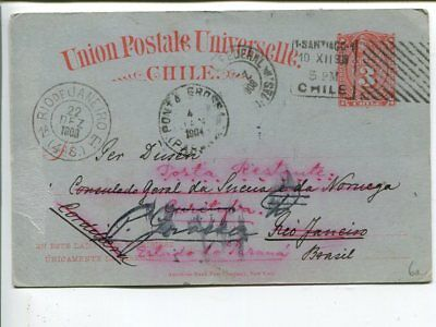 Chile 3c postal card to Brazil 1903