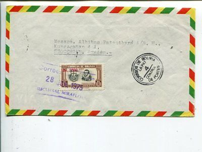 Bolivia air mail cover to Sweden 1975