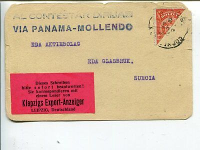 Bolivia 10c bisected on post card to Sweden 1933