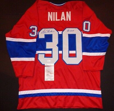 Chris Nilan Montreal Canadiens Autographed Inscrib Red Style Jersey W-Coa Jsa-=