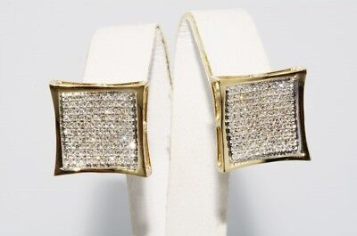 $4,250 1.50Ct Natural Round Cut Diamond Cluster Box Earrings 14K Yellow Gold