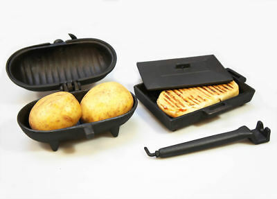 Std Cast Iron Baked Potato Cooker & Panini Cooker Bacon Press for Wood Stoves