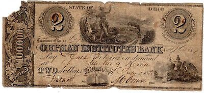 Ohio Bank Note - Orphan Institutes Bank - $2.00 - 1838 - Haxby 215-G4