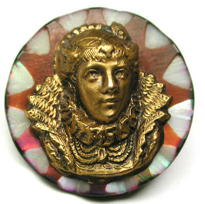Antique Carved Shell Button w/ Brass woman's Head Accent -11/16""