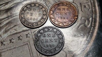 1884,1886 & 1880 H  Canadian Large Cents