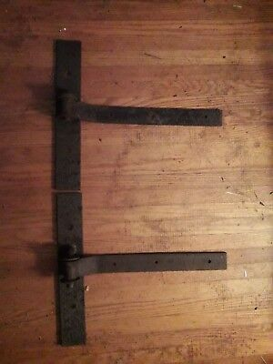 "2 Matching Vintage Barn Door Hinges 15"" long"