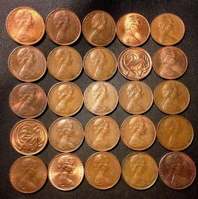 Old Australia Coin Lot - 2 CENT - 25 HIGH GRADE Mixed Coins - Lot #112