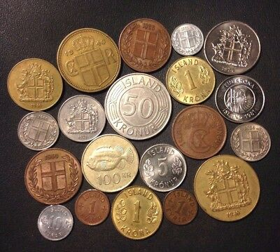 OLD ICELAND COIN LOT - 1939-Present - 20 Great Low Mintage Coins - Lot #112