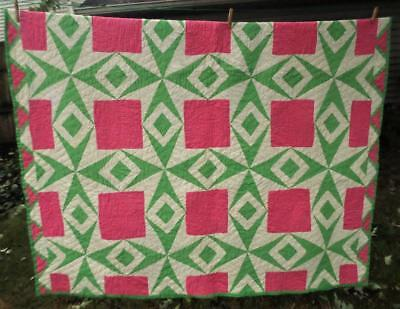 """Antique Hand Sewn  Quilt Pink Green White 90 X 72"""" Excellent Condition"""