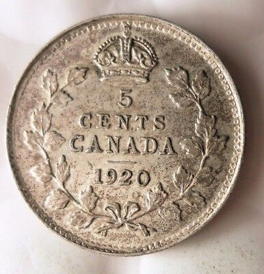 1920 CANADA 5 CENTS - AU - BIG VALUE Scarce Date Coin - Lot #112