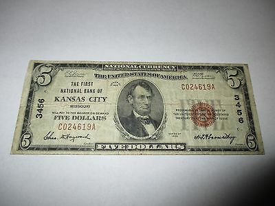 $5 1929 Kansas City Missouri MO National Currency Bank Note Bill! Ch #3456 Fine