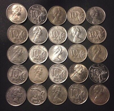 Old Australia Coin Lot - 10 CENT - 25 HIGH GRADE Mixed Coins - Lot #112
