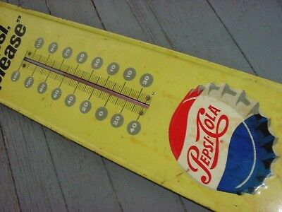 1965 Vintage SAY PEPSI PLEASE Old Bottle Cap Script Logo Tin Thermometer Sign
