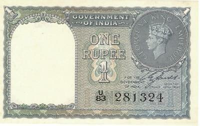 India 1 Rupee Currency Banknote 1940  XF/AU – No Pin Holes