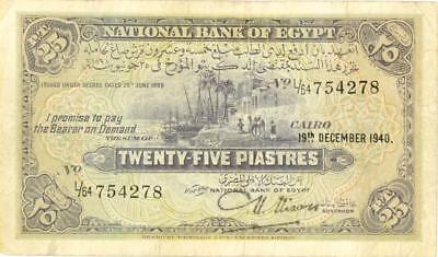 Egypt 25 Piastres Currency Banknote 1940