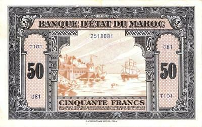 Morocco 50 Francs Currency Banknote 1943