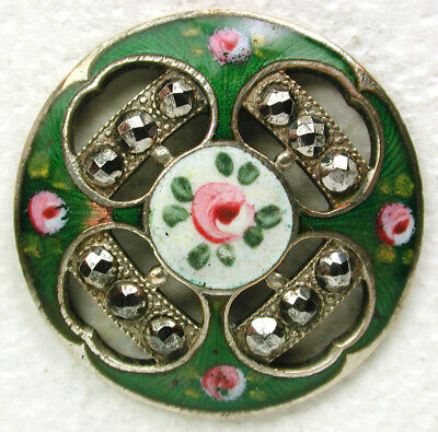 """Antique French Enamel Button Pierced Cut Steel Hand Painted Flowers 1 & 1/16"""""""