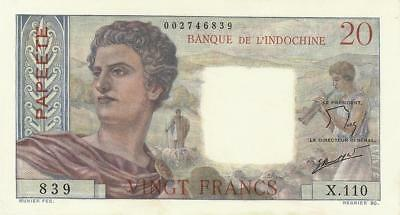 Tahiti 20 Francs Currency Banknote 1963  XF