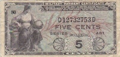 1951 USA Series 481 5 Cents Military Payment Certificate Note, Pick M22