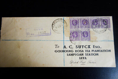 Rare 1938 Registered Fiji Cover to Java Clean British Cover
