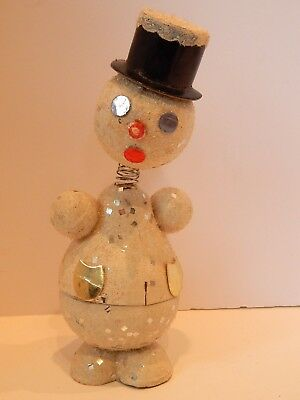 Vintage Snowman Candy Container Nodder Bobble head Germany Top Hat