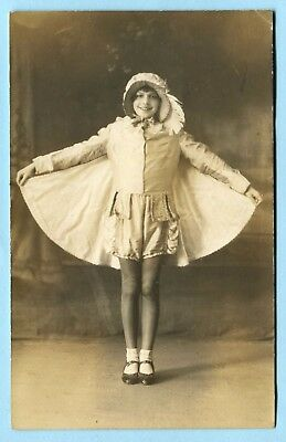 1930 GIRL w/ WEBBED CAPE DRESS RPPC * Interesting Flying Squirrel Pose