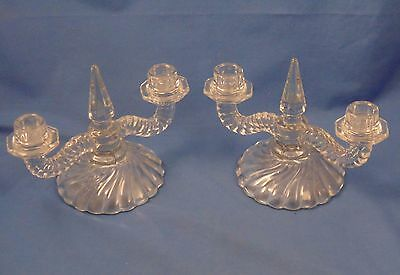 Pair of Fostoria Colony Double Candlestick Holders