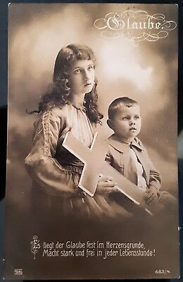 Antique Germany 1918 Black White Children With Large Cross Photograph Postcard