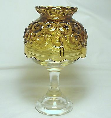 L.E. Smith Glass Moon and Star Fairy Lamp Candle Holder Amber & Clear