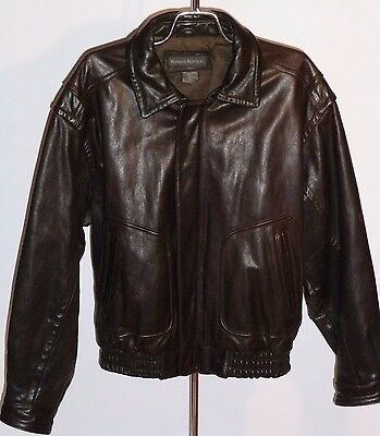 Heavy Brown Leather Banana Republic Motorcycle Jacket! D-Pockets/Action Back! 40