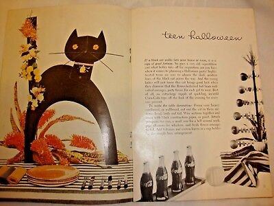1958 Pause Magazine Coca Cola Coke Ads HALLOWEEN CAT Football Fall Party plans