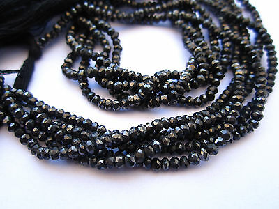 "13"" quality Black Spinel Rondelle Faceted Gemstone Beads Strand 4 MM"