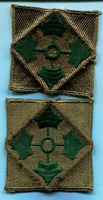 Pair Oversize WWII SHOULDER PATCHES 4th Infantry Division * 2 Different Weaves