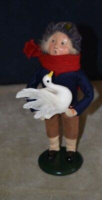 Byers' Choice - The Carolers Boy Holding A Large Christmas Goose - Pristine