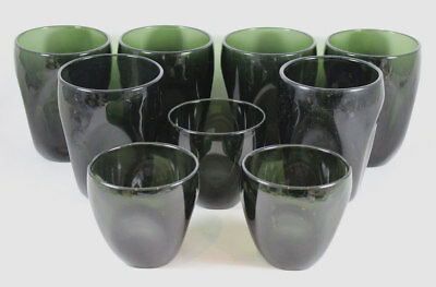 9  Mid Century Russel Wright Pinch Glass Tumblers Verde Green
