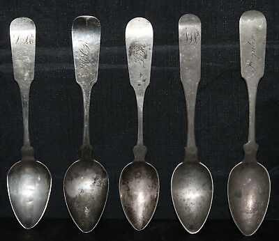 Lot of 5 Coin Silver Spoons WHARTENBY, O.D. Seymour