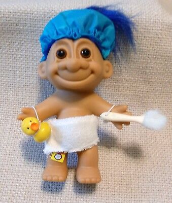 """Russ Berrie 5"""" Bath Time Troll With Blue Hair & Accessories New!"""