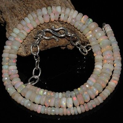 "59 Crt 17"" Natural Ethiopian Welo Fire Opal Rondelle Faceted Beads Necklace #02"
