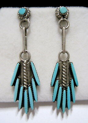 BERNARD PEINT Vintage OLD PAWN SW NATIVE Turquoise Sliver SILVER Drop EARRINGS