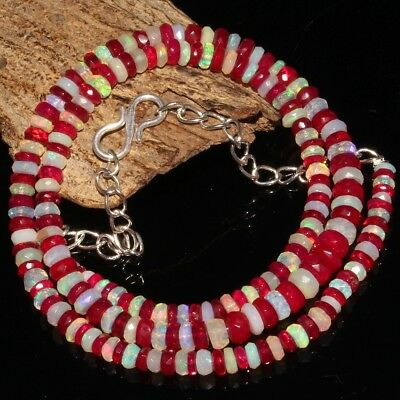 40 Ctw Natural Ethiopian Welo Fire Pink Faceted Opal Rondelle Beads Necklace 31A