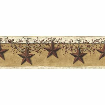 York Wallcoverings HK4663BD Mustard / Cream Border Book Hanging Star Border