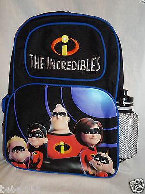 """Nwt The Incredibles Disney Pixar Canvas Backpack  With Water Bottle  13"""" X 16"""""""