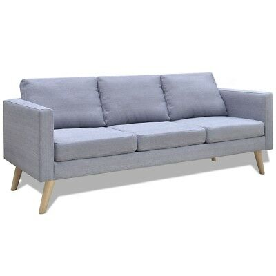 Light Grey 3 Seater Modern Fabric Sofa Couch Lounge Suite Furniture Seat