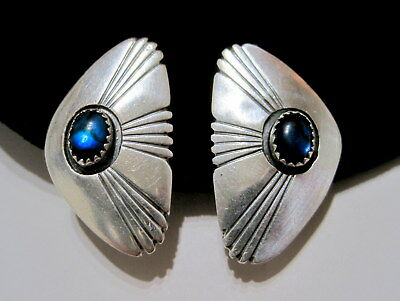 P. WHITE Signed SW NATIVE Blue Paua Shell ARTISAN STERLING SILVER Clip EARRINGS