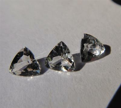3 MATCHING Faceted NY Herkimer Diamonds - ALL 6mm Trillion Cut - AAA EYE CLEAN